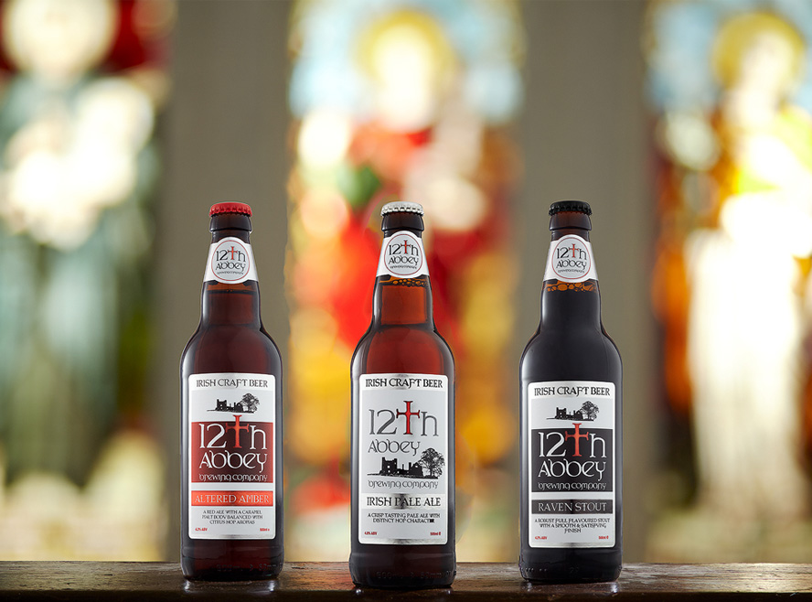12th Abbey – Pale Ale, Amber Ale and Stout Beer Bottle Label Design